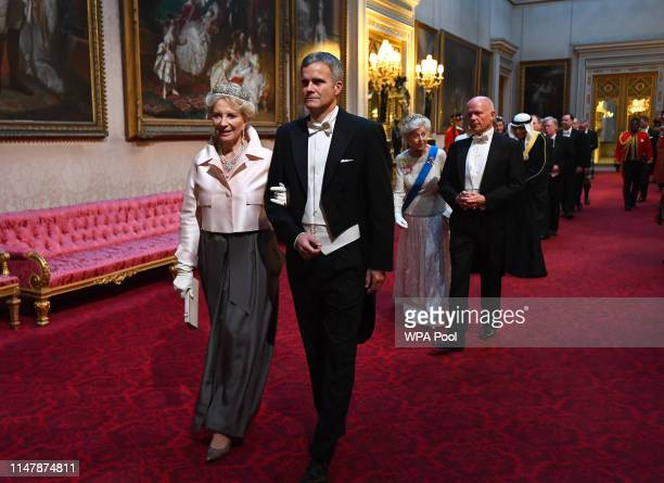 Princess Michael of Kent and Helge Lund arrive through the East Gallery for a State Banquet at Buckingham Palace on June 3, 2019 in London, England....
