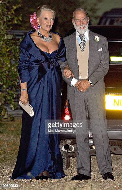 HRH Princess Michael of Kent and HRH Prince Michael of Kent arrive at the home of Lady Annabel Goldsmith for an evening reception after attending the...