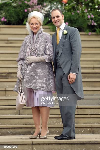 Princess Michael of Kent and Lord Frederick Windsor arrive at the wedding of Lady Gabriella Windsor and Mr Thomas Kingston at St George's Chapel on...