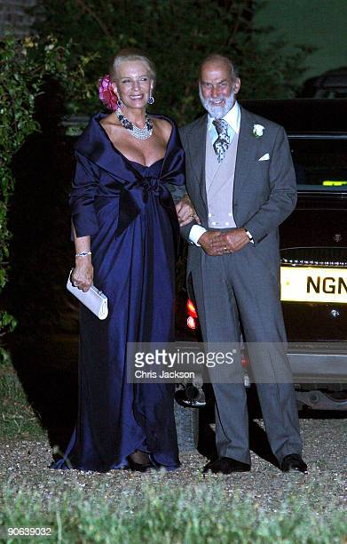 Princess Michael of Kent and Prince Michael of Kent arrive back from the wedding of Lord Fredrick Windsor and Sophie Winkleman for a reception at...