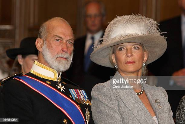 Princess Michael of Kent and Prince Michael of Kent attend a reception at London Guildhall after a Service of Commemoration to mark the end of combat...