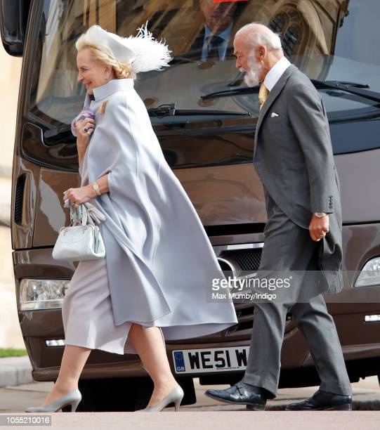 Princess Michael of Kent and Prince Michael of Kent attend the wedding of Princess Eugenie of York and Jack Brooksbank at St George's Chapel on...