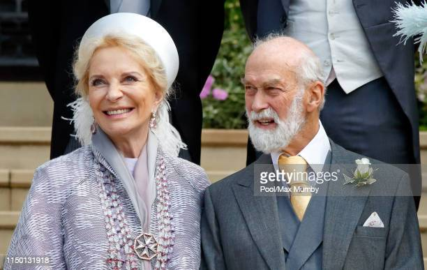 Princess Michael of Kent and Prince Michael of Kent attend the wedding of Lady Gabriella Windsor and Thomas Kingston at St George's Chapel on May 18,...