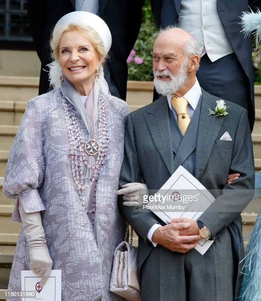 Princess Michael of Kent and Prince Michael of Kent attend the wedding of Lady Gabriella Windsor and Thomas Kingston at St George's Chapel on May 18...