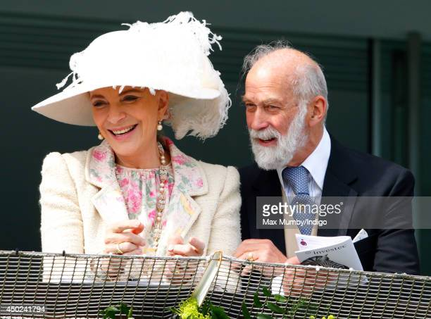 Princess Michael of Kent and Prince Michael of Kent watch the racing as they attend Derby Day of the Investec Derby Festival at Epsom Racecourse on...