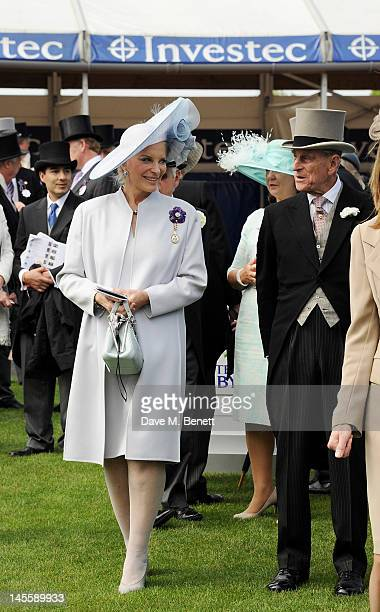 Princess Michael of Kent and Prince Philip, Duke of Edinburgh attend Investec Derby Day at the Investec Derby Festival, the first official event of...
