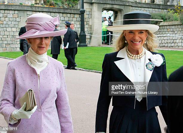 Princess Michael of Kent and Princess Alexandra arrive for the Service of Prayer and Dedication blessing the marriage of TRH the Prince of Wales and...