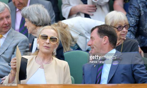 Princess Michael of Kent and Wimbledon Chairman Philip Brook attend day 10 of the Wimbledon Tennis Championships at the All England Lawn Tennis and...