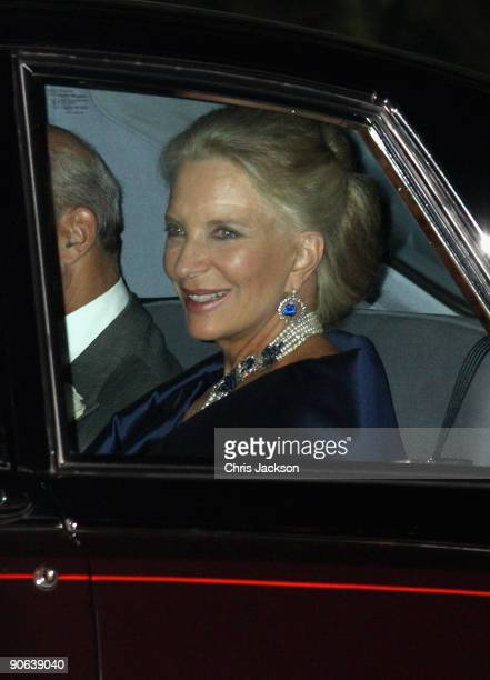 Princess Michael of Kent arrives back from the wedding of Lord Fredrick Windsor and Sophie Winkleman for a reception at Lady Annabel Goldsmith's...