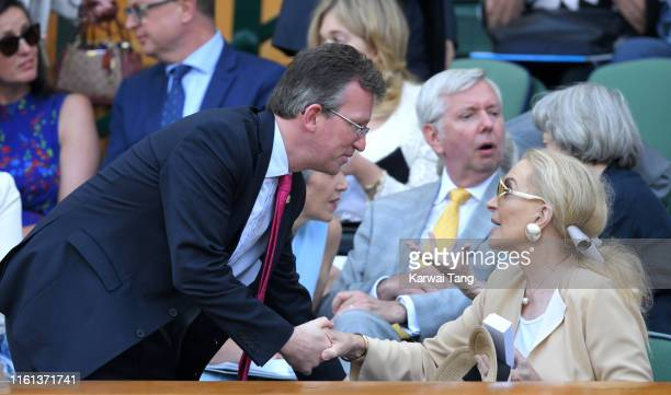 Princess Michael of Kent attends day 10 of the Wimbledon Tennis Championships at the All England Lawn Tennis and Croquet Club on July 11, 2019 in...