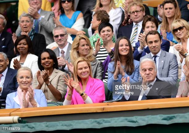 Princess Michael of Kent Condoleezza Rice Pippa Midleton James Middleton attend Day 1 of the Wimbledon 2013 tennis championships at Wimbledon on June...