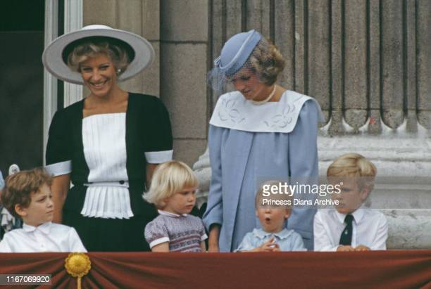 Princess Michael of Kent Diana Princess of Wales and Prince William pose on the balcony of Buckingham Palace in London for the Trooping the Colour...