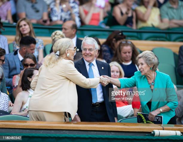 Princess Michael of Kent greets Sir John Major and his wife Norma Major at The Wimbledon Lawn Tennis Championship at the All England Lawn and Tennis...