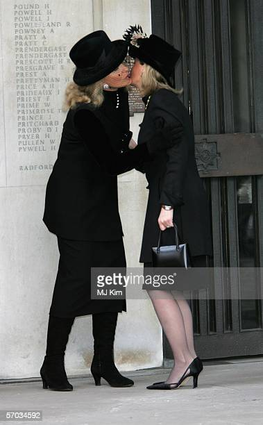 Princess Michael of Kent greets Sophie Rhys-Jones, Countess of Wessex at the second memorial service for Lord Lichfield, Royal photographer and...