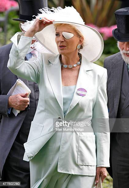 Princess Michael of Kent holds onto her hat as she attends day 2 of Royal Ascot at Ascot Racecourse on June 17 2015 in Ascot England