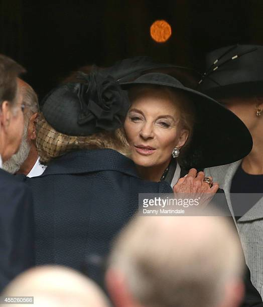Princess Michael of Kent kisses Trudie Styler at a memorial service for Mark Shand at St Paul's Church on September 11 2014 in London England