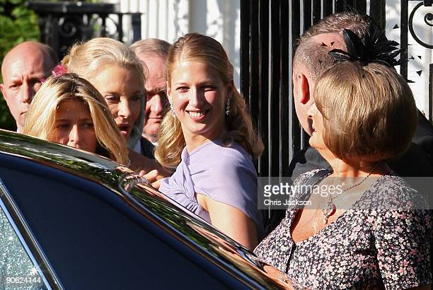 Princess Michael of Kent Lady Gabriella Windsor and Annabel Goldsmith leave Lady Annabel Goldsmith's house Ormeley Lodge en route to the wedding of...