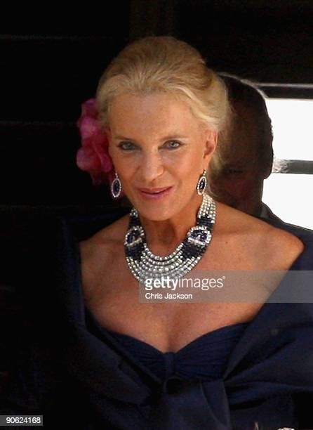 Princess Michael of Kent leaves Lady Annabel Goldsmith's house Ormeley Lodge en route to the wedding of Lord Frederick Windsor and Sophie Winkleman...