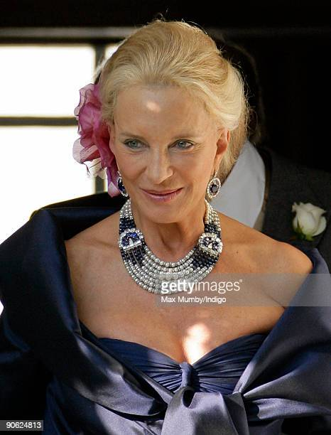 HRH Princess Michael of Kent leaves the home of Lady Annabel Goldsmith to attend the wedding of her son Lord Frederick Windsor to Sophie Winkleman at...