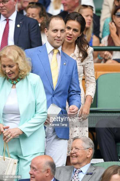 Princess Michael of Kent, Lord Frederick Windsor and Sophie Winkleman on Centre Court during Men's Finals Day of the Wimbledon Tennis Championships...