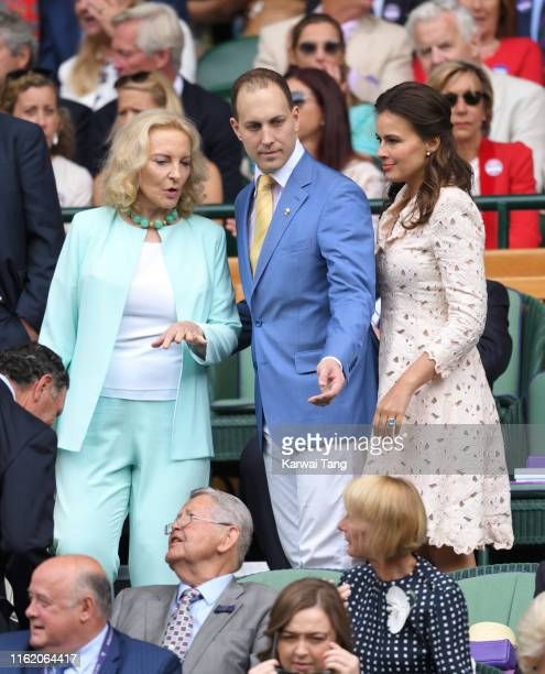 Princess Michael of Kent Lord Frederick Windsor and Sophie Winkleman on Centre Court during Men's Finals Day of the Wimbledon Tennis Championships at...