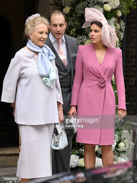 Princess Michael of Kent, Lord Frederick Windsor and Sophie Winkleman attend Flora Alexandra Ogilvy and Timothy Vesterberg's marriage blessing at St...