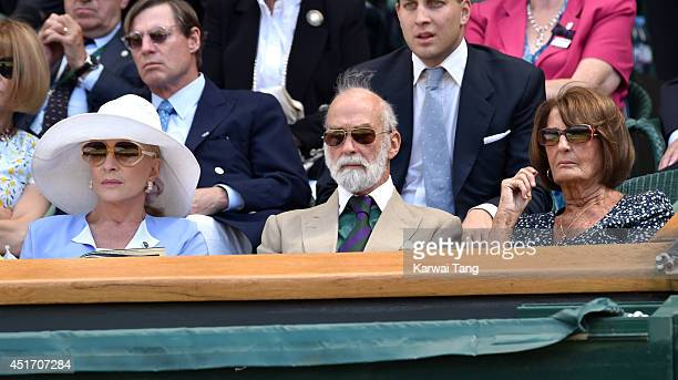 Princess Michael of Kent Prince Michael of Kent and Annabel Goldsmith attend the semifinal match between Roger Federer and Milos Raonic on centre...