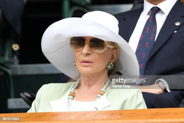 Princess Michael of Kent sits in the royal box on day three of the Wimbledon Tennis Championships at the All England Lawn Tennis and Croquet Club on...