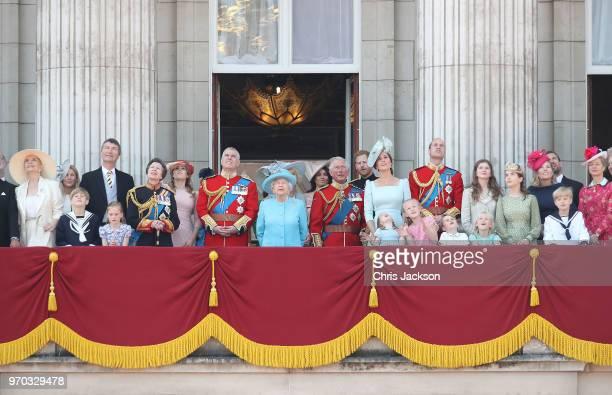 Princess Michael of Kent, Vice Admiral Sir Tim Laurence, Princess Anne, Princess Royal, Princess Beatrice, Lady Louise Windsor, Prince Andrew, Duke...