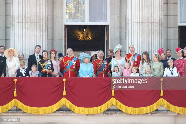 Princess Michael of Kent, Vice Admiral Sir Tim Laurence, Princess Anne, Princess Royal, Princess Beatrice, Lady Louise Windsor, Prince Andrew, Duke...