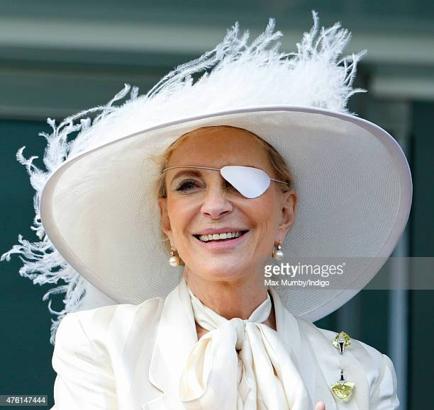 Princess Michael of Kent watches the racing from the balcony of the Royal Box on Derby Day during the Investec Derby Festival at Epsom Racecourse on...