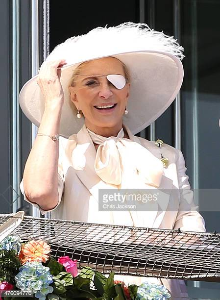 Princess Michael of Kent watches the racing from the royal box at the Investec Derby festival at Epsom Racecourse on June 6 2015 in Epsom England