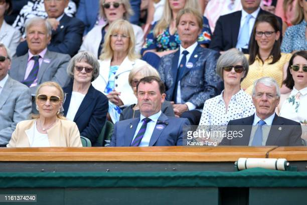 Princess Michael of Kent, Wimbledon Chairman Philip Brook and former British Prime Minister John Major attend day 10 of the Wimbledon Tennis...