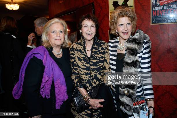 Princess Michel de BourbonParme and Countess AnneMarie de Ganay attend the 'Novecento' Theater Play in support of APREC at Theatre Montparnasse on...