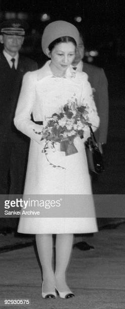 Princess Michiko arrives from her Australia and New Zealand tour at Haneda Airport on May 23 1973 in Tokyo Japan