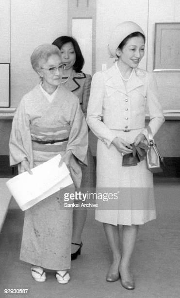 Princess Michiko attends a calligraphy exhibition on October 12 1976 in Japan