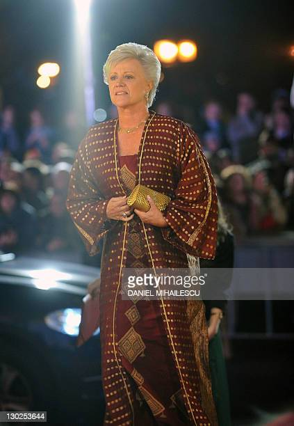 Princess Muna AlHussein of Jordan arrives at The National Opera to attends the celebration concert of King Michael I of Romania for his 90's...