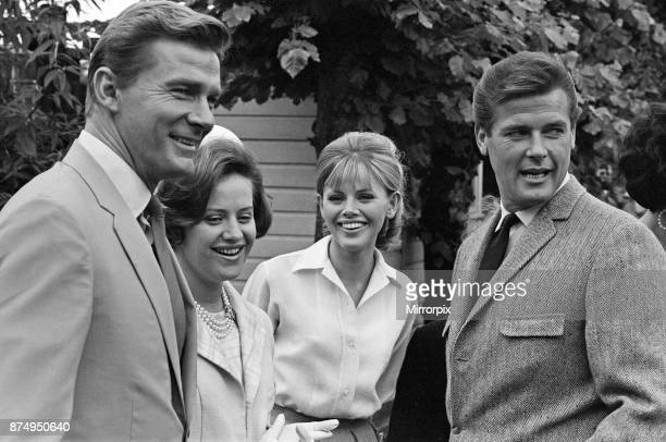 Princess Muna alHussein of Jordan is shown around Elstree Studios by Steve Forrest Roger Moore and Britt Ekland 26th July 1966