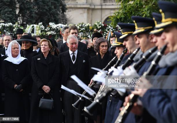 Princess Muna of Jordan Queen AnneMarie of Greece Prince Charles of Wales and former Queen of Spain Sophia attend the funeral ceremony for the late...