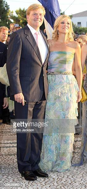 Princess Máxima of the Netherlands and Prince Willem-Alexander of the Netherlands arrive for the wedding of Prince Nikolaos and Miss Tatiana Blatnik...