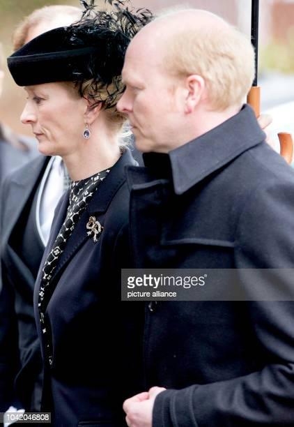Princess Nathalie and Mr Alexander Johannsmann arrive at the Evangelische Stadtkirche in Bad Berleburg on March 21 to attend HH Prince Richard_s zu...