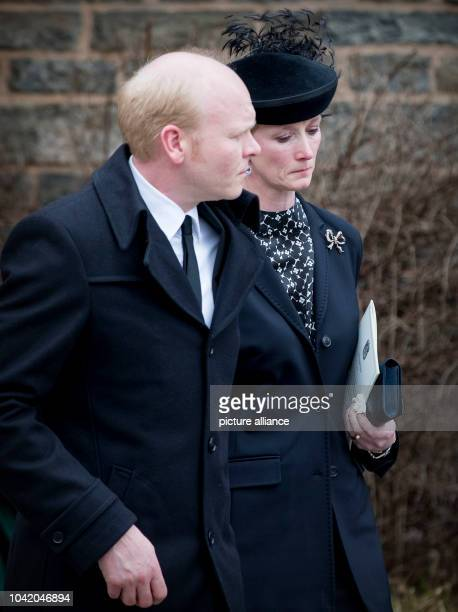 Princess Nathalie zu SaynWittgensteinBerleburg and Alexander Johannsmann attend the funeral service of Prince Richard zu SaynWittgensteinBerleburg at...