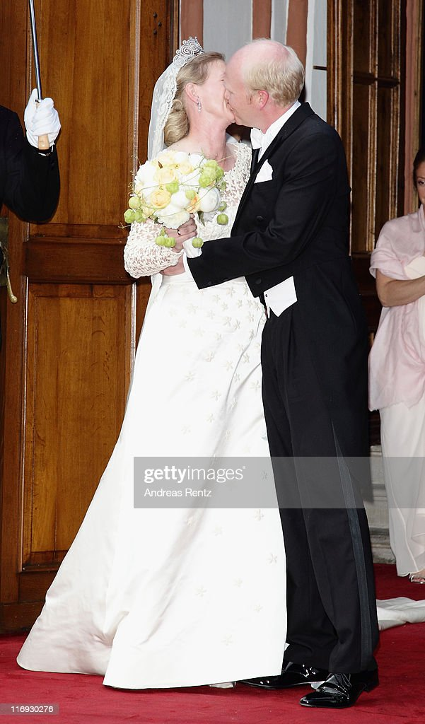 Princess Nathalie zu Sayn-Wittgenstein-Berleburg and Alexander Johannsmann kiss each other after getting married the evangelic Stadtkirche on June 18, 2011 in Bad Berleburg, Germany.