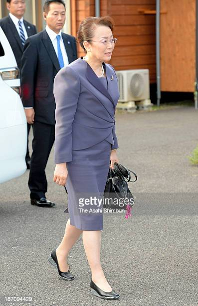Princess Nobuko of Mikasa is seen during her visit to a temporary housing where Iitate Village people have been evacuating on November 1, 2013 in...