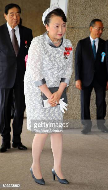 Princess Nobuko of Mikasa is seen on arrival to attend the Florence Nightingale Medal Ceremony on August 2, 2017 in Tokyo, Japan.