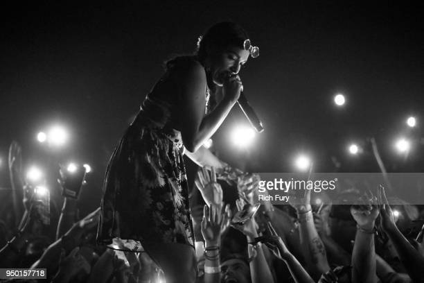 Princess Nokia performs onstage during the 2018 Coachella Valley Music And Arts Festival at the Empire Polo Field on April 22 2018 in Indio California