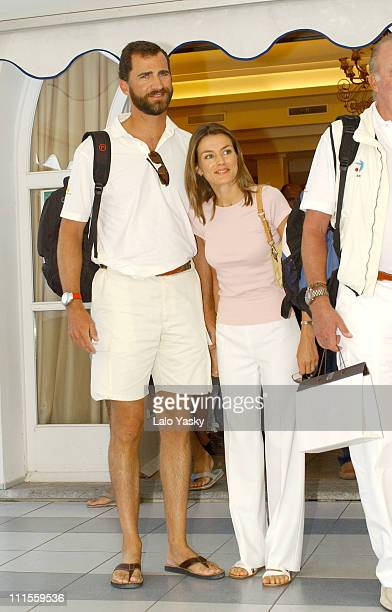 Princess of Asturias Felipe and Letizia at the Real Club Nautico in Mallorca for the 23rd Copa del Rey Sailing Trophy