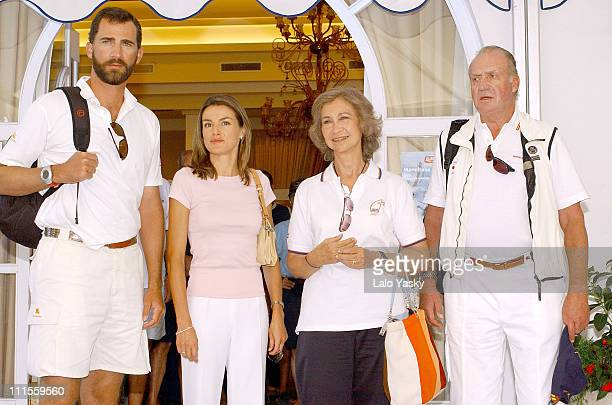 Princess of Asturias Felipe and Letizia Queen Sofia and King Juan Carlos at the Real Club Nautico in Mallorca for the 23rd Copa del Rey Sailing Trophy