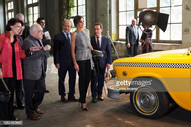 Princess of Asturias Foundation director Teresa Sanjurjo Gonzalez director Martin Scorsese and Queen Letizia of Spain attend the meeting of Martin...