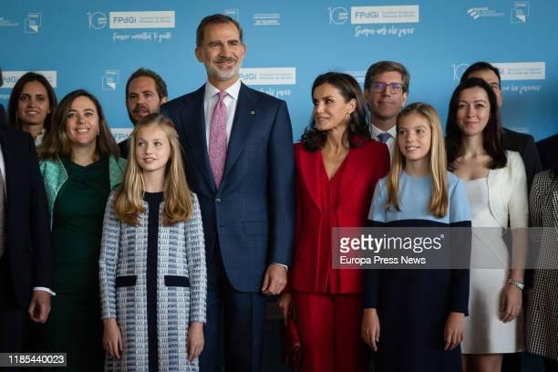 Princess of Asturias, Leonor de Borbon , King Felipe VI , Queen Letizia Ortiz and Infanta Sofia de Borbon , are seen during the presentation of the...